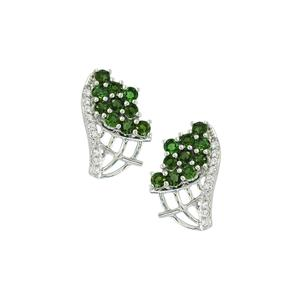 Chrome Tourmaline & White Topaz Sterling Silver Earrings ATGW 1.41cts