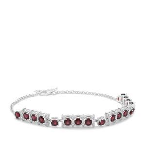 Octavian Garnet & White Zircon Sterling Silver Bracelet ATGW 6.35cts