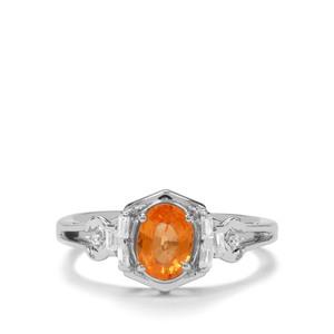 Mandarin Garnet & White Zircon Sterling Silver Ring ATGW 1.35cts