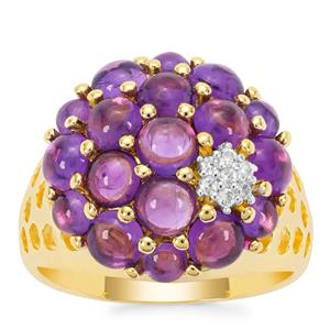 Bahia Amethyst Ring with White Zircon in Gold Plated Sterling Silver 3.66cts