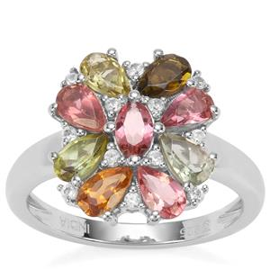 Rainbow Tourmaline Ring with White Zircon in Platinum Plated Sterling Silver 2.10cts