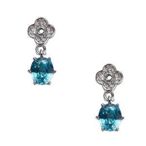 Ratanakiri Blue Zircon & White Topaz Sterling Silver Earrings ATGW 2.53cts