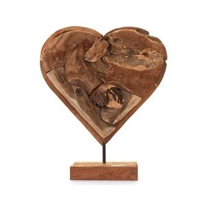 Large Wooden Driftwood Heart on Stand 40 x 50cm