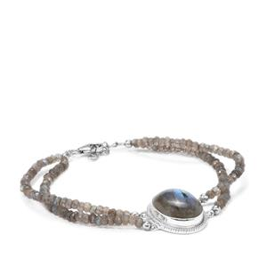 Labradorite Bead Bracelet in Sterling Silver 37.77cts
