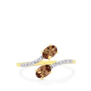 Bekily Color Change Garnet Ring with Diamond in 10k Gold 1.08cts