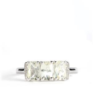 Citron Feldspar & White Topaz Sterling Silver Ring ATGW 1.52cts