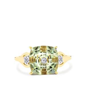 Lehrer TorusRing Prasiolite Ring with Diamond in 9K Gold 2.87cts