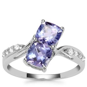 AA Tanzanite Ring with White Zircon in 9K White Gold 1.91cts