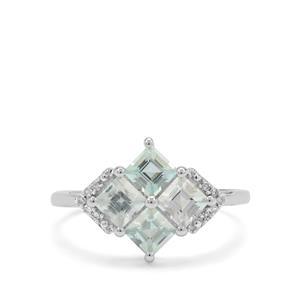 Aquaiba™ Beryl & Diamond 9K White Gold Ring ATGW 1.27cts
