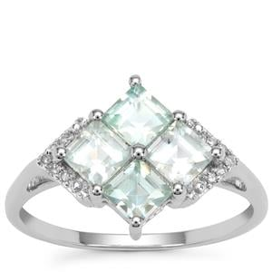 Aquaiba™ Beryl Ring with Diamond in 9K White Gold 1.27cts