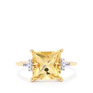 Serenite Ring with White Zircon in 10k Gold 3.14cts