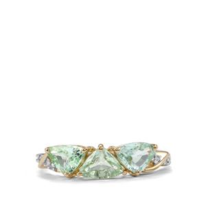 Paraiba Tourmaline Ring with Diamond in 9K Gold 1.31cts