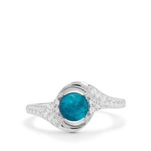 Neon Apatite & White Zircon Sterling Silver Ring ATGW 1.30cts