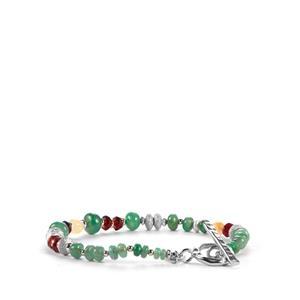 Carnaiba Brazilian Emerald, Red Garnet Sarah Bennett Bracelet with Ethiopian Opal in Sterling Silver 24.20cts