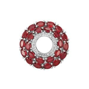 Malagasy Ruby Pendant with White Zircon in Sterling Silver 8.26cts (F)