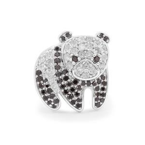 Black Diamond Pendant with White Diamond in Sterling Silver 0.75ct