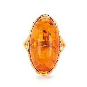 Baltic Cognac Amber Ring in Gold Tone Sterling Silver (24 x 13mm)