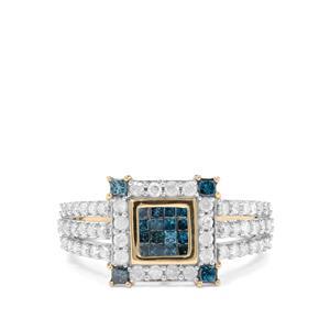 1ct Blue & White Diamond 9K Gold Tomas Rae Ring