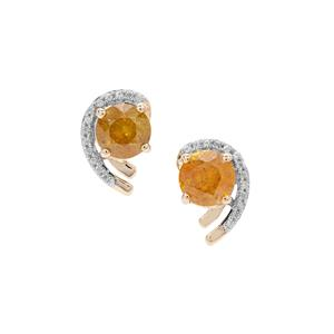 Sphalerite Earrings with White Zircon in 9K Gold 3.74cts