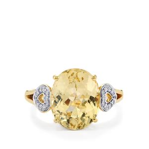 Canary Kunzite Ring with Diamond in 14k Gold 5.25cts