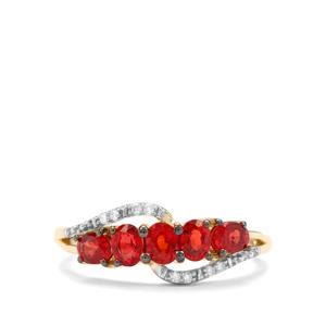 Songea Ruby & Diamond 9K Gold Ring ATGW 1.18cts