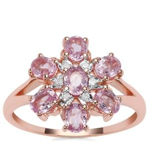 Sakaraha Pink Sapphire Ring with Diamond in 10K Rose Gold 1.42cts