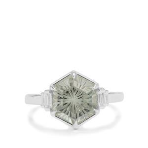 Senary Cut Prasiolite & White Zircon Sterling Silver Ring ATGW 3.15cts
