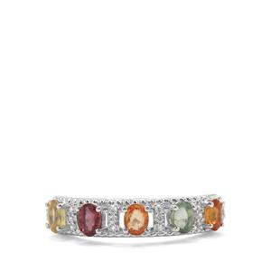 Songea Rainbow Sapphire & White Zircon Sterling Silver Ring ATGW 1.34cts