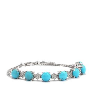 Sleeping Beauty Turquoise Bracelet with White Zircon in Sterling Silver 8.74cts
