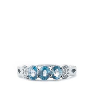 Ratanakiri Blue Zircon & White Topaz Sterling Silver Ring ATGW 1.91cts