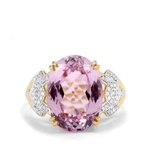 Mawi Kunzite Ring with Diamond in 18k Gold 9.26cts