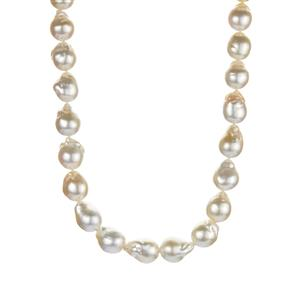 South Sea Cultured Pearl Graduate Necklace in Sterling Silver