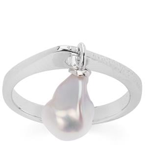 Baroque Cultured Pearl Ring in Rhodium Flash Sterling Silver (8x10mm)