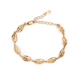 Gold Plated Sterling Silver Leaf Bracelet