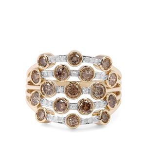 2.05ct Champagne & White Diamond 9K Gold Ring
