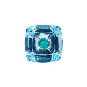 Sky Blue Topaz Gemstone with Emerald set in Platinum 950 16.57cts
