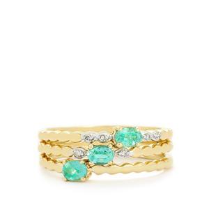 Zambian Emerald & Diamond 9K Gold Set of 3 Stacker Rings ATGW 0.51cts