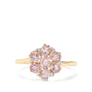 Andhra Pradesh Spinel & Diamond 9K Gold Ring ATGW 1.22cts