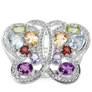 Kaleidoscope Gemstone Butterfly Ring in Sterling Silver 3.42cts