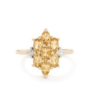Ouro Preto Imperial Topaz & White Zircon 10K Gold Ring ATGW 1.77cts