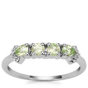 Merelani Mint Garnet Ring with Diamond in 9K White Gold 0.61ct