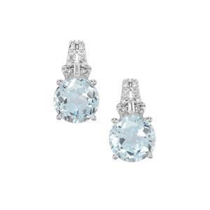 Lone Star Sky Blue Topaz & White Topaz Sterling Silver Earrings ATGW 5.48cts