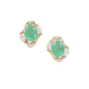 Colombian Emerald Earrings with White Zircon in 9K Gold 0.87ct