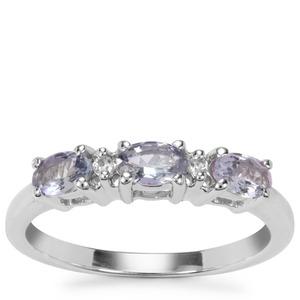 Bi Colour Tanzanite Ring with White Zircon in Sterling Silver 0.78ct