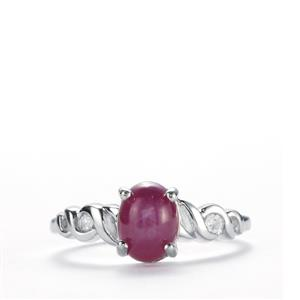 Madagascan Star Ruby Ring with White Topaz in Sterling Silver 2.33cts (F)