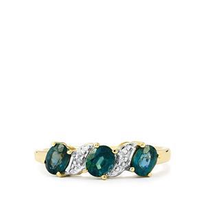 Nigerian Blue Sapphire & Diamond 9K Gold Ring ATGW 1.16cts