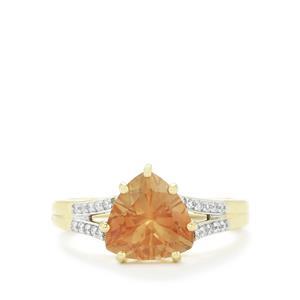 Oregon Sunstone & Diamond 14k Gold Tomas Rae Ring ATGW 2.17cts