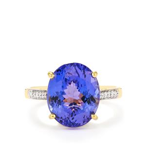 AATanzanite Ring with Diamond in 14k Gold 7.64cts