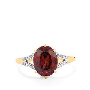 Zanzibar Sunburst Zircon & Diamond 18K Gold Tomas Rae Ring MTGW 3.88cts