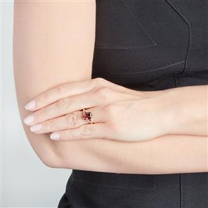 Zanzibar Sunburst Zircon Ring with Diamond in 18k Gold 3.88cts